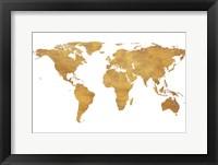 Framed Gold World Map (gold foil)