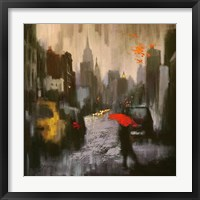 Framed Rainy Day Walker
