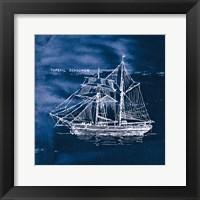 Framed Sailing Ships V Indigo