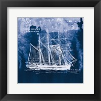Framed Sailing Ships II Indigo