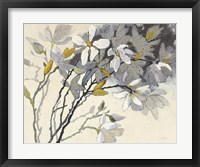 Framed Magnolias Yellow Gray