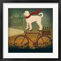 Framed White Doodle on Bike Summer