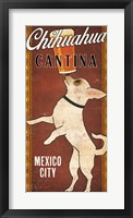 Framed White Chihuahua on Red