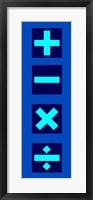 Framed Math Symbols Wall Scroll - Blue
