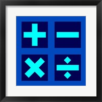 Framed Math Symbols Square - Blue