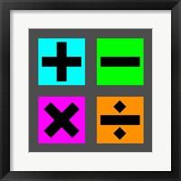 Framed Math Symbols Square - Colorful Boxes