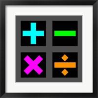 Framed Math Symbols Square - Colorful Symbols