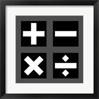 Framed Math Symbols Square - Black