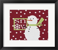 Framed Snow Snowman Painted