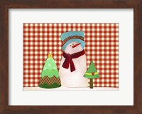 Framed Snowman With Teal Hat With Christmas Trees