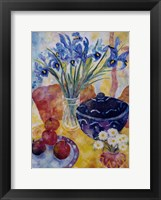 Framed Irises & Dish Of Apples