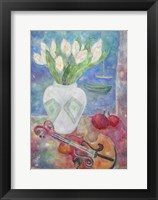 Framed Violin With Flowers