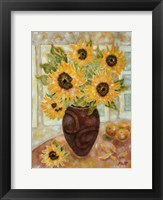Framed Sunflowers And Satsumas