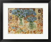 Framed Blue Bouquet On A Gold Hawaiian Cloth