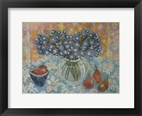 Framed Blue Flowers On A Hawaiian Cloth