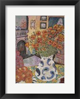 Framed Orange Straw Flowers