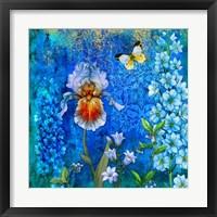 Framed Delphinium And Iris