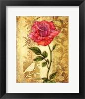 Framed Rose on Golden Background