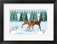 Framed Romping Reindeer
