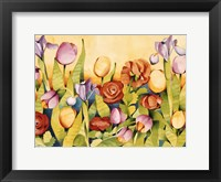 Framed Iris & Tulips/ Yellow Background