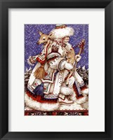 Framed Father Christmas with Deer