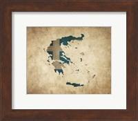 Framed Map with Flag Overlay Greece