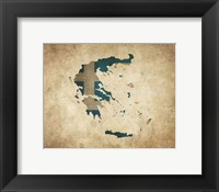 Framed Map with Flag Overlay Greece