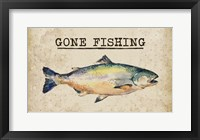 Framed Gone Fishing Salmon Color