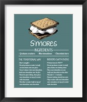 Framed S'mores Recipe Blue Background
