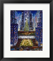 Framed Rockefeller Center 2 Blue