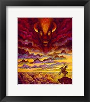 Framed Raging Buffalo