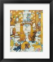 Framed Orange Bathroom Pups