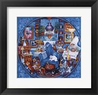 Framed More Blue Room Cats