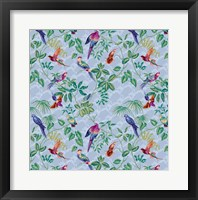 Framed Aviary Small Scroll Periwinkle