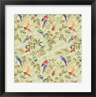 Framed Aviary Small Scroll Sage