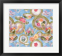 Framed China Cabinet Scroll Blotch Blue
