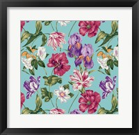 Framed Floral Waltz Aqua