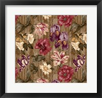 Framed Floral Waltz Textured Scroll Stripe Hazelnut