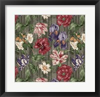 Framed Floral Waltz Textured Scroll Stripe Slate