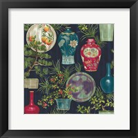 Framed Japanese Vases Blue