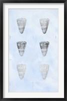 Framed 6-Up Silver Foil Shell I on Blue Wash I