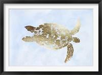 Framed Gold Foil Sea Turtle I on Blue Wash