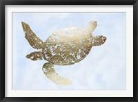 Framed Gold Foil Sea Turtle II on Blue Wash