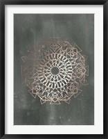 Framed Rose Gold Foil Mandala I on Black Wash
