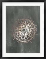 Framed Rose Gold Foil Mandala II on Black Wash