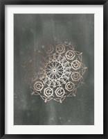 Framed Rose Gold Foil Mandala III on Black Wash