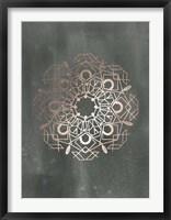Framed Rose Gold Foil Mandala IV on Black Wash
