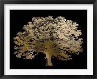 Framed Gold Foil Elephant Tree on Black