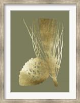 Framed Gold Foil Pine Cones I on Mid Green