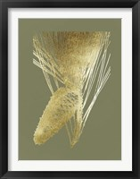 Framed Gold Foil Pine Cones II on Mid Green